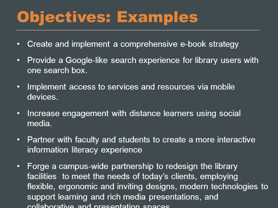 Objectives: Examples Create and implement a comprehensive e-book strategy.