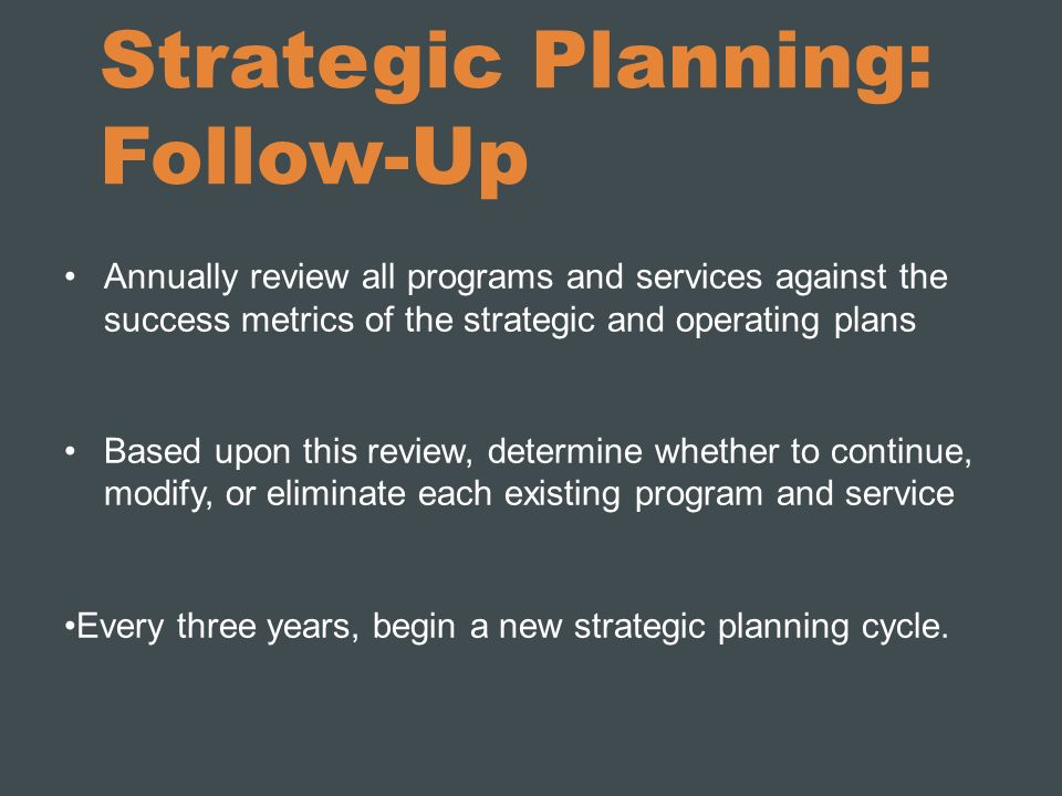 Strategic Planning: Follow-Up
