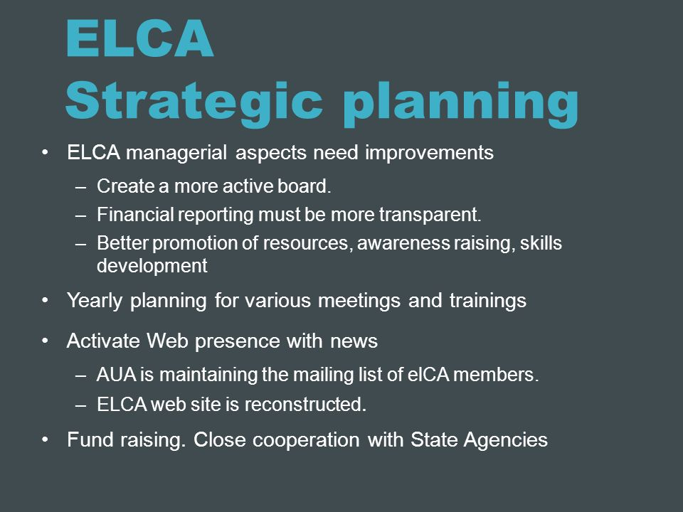 ELCA Strategic planning
