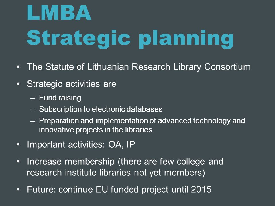 LMBA Strategic planning