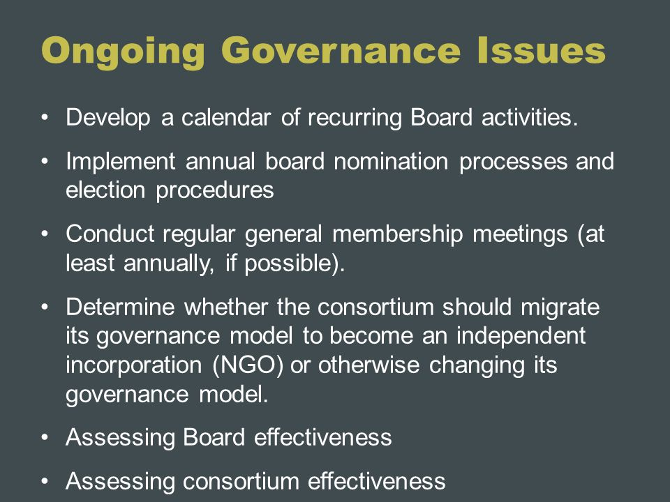 Ongoing Governance Issues