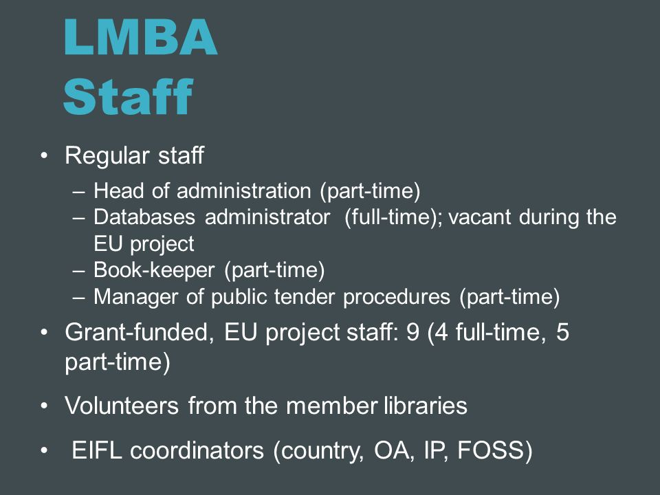 LMBA Staff Regular staff