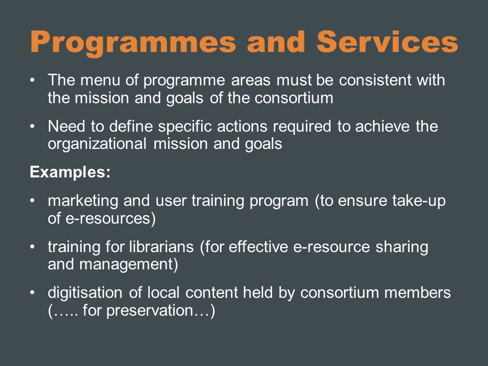 Programmes and Services