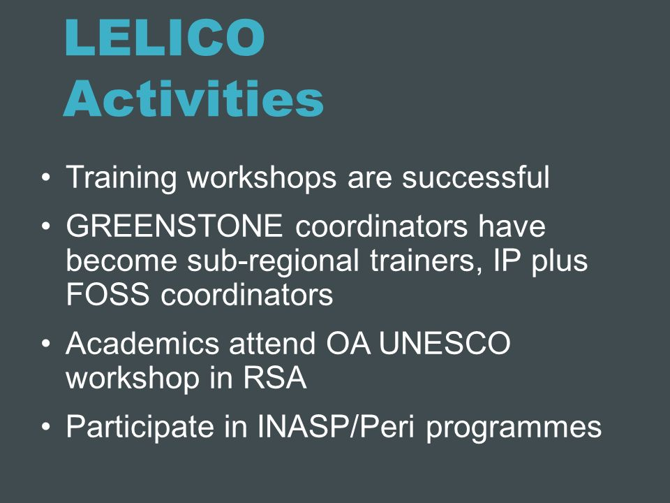 LELICO Activities Training workshops are successful