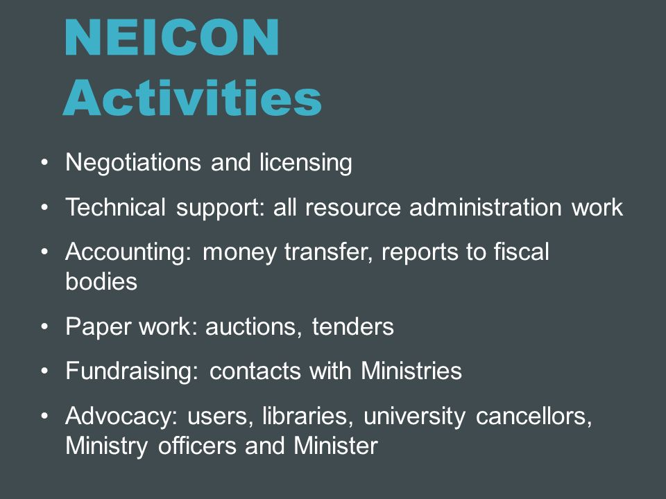 NEICON Activities Negotiations and licensing