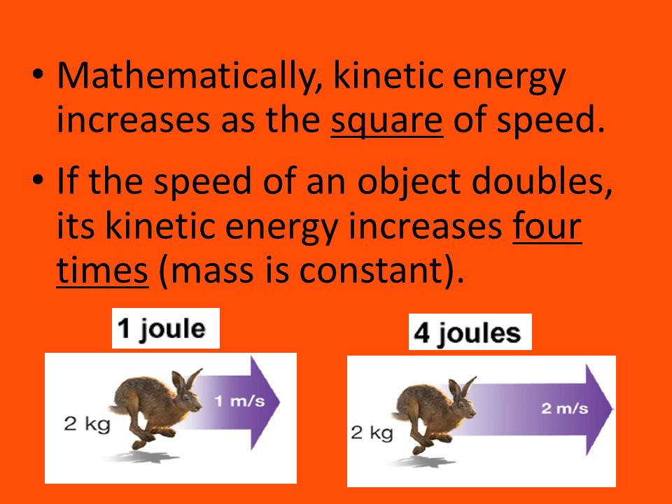 Mathematically, kinetic energy increases as the square of speed.