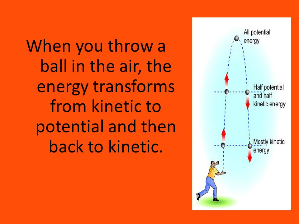 When you throw a ball in the air, the energy transforms from kinetic to potential and then back to kinetic.