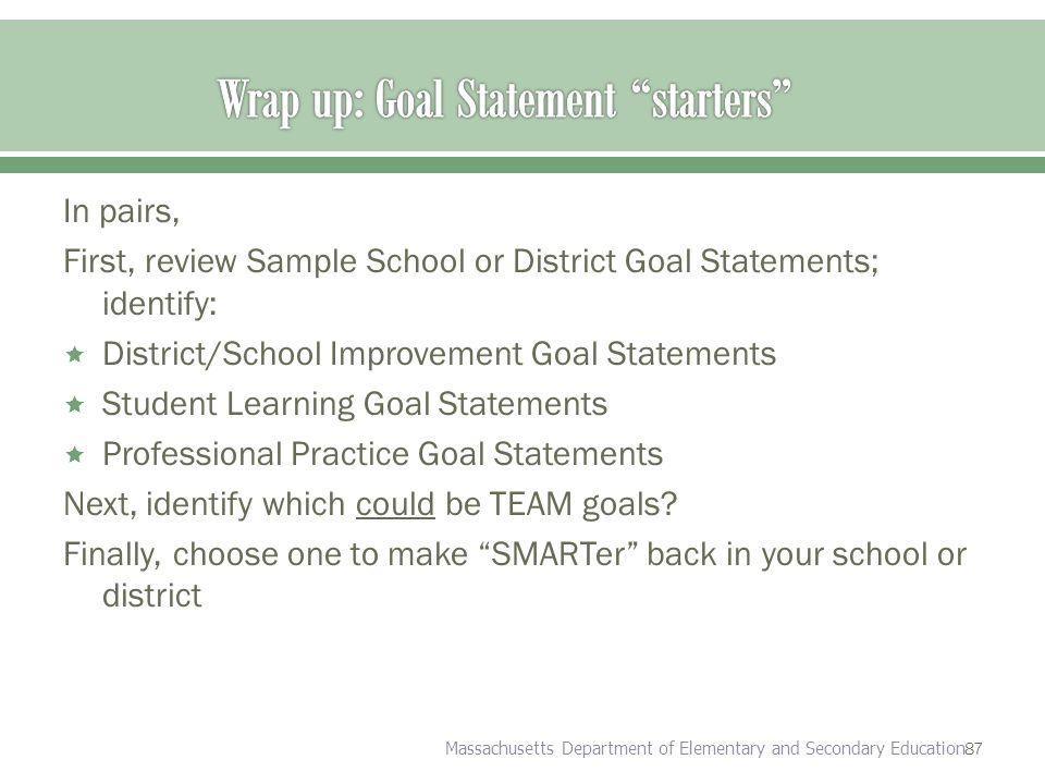 sample goal statements
