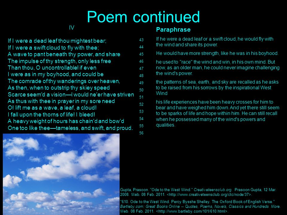 the use of images in shellys ode to the west wind Percy shelley: poems summary and analysis of ode to the west wind buy  study  this is called terza rima, the form used by dante in his divine comedy.
