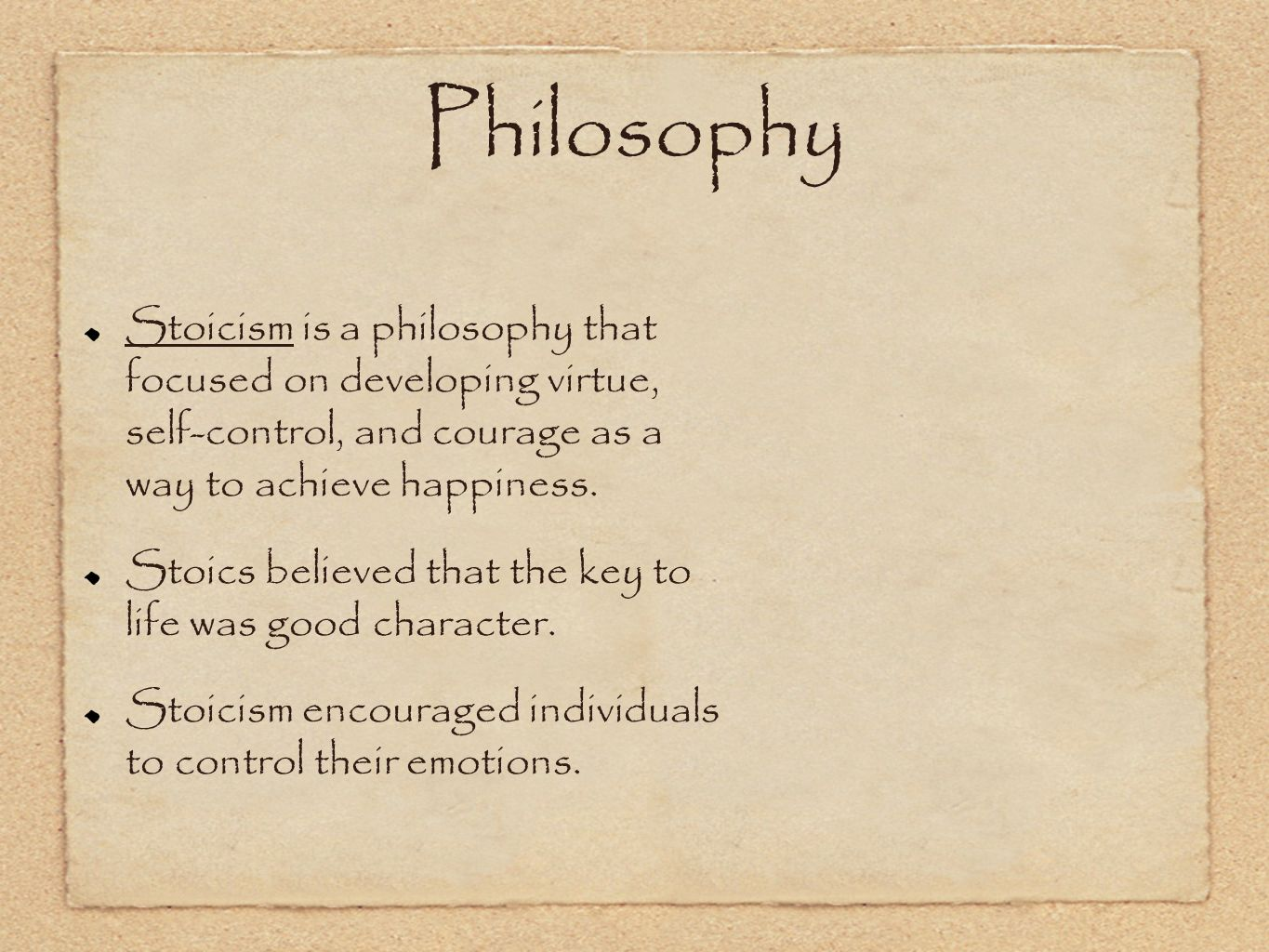 happiness in the stoicism theory The main accounts of happiness in this sense are hedonism, the life satisfaction theory, and the emotional state theory leaving verbal questions behind, we find that happiness in the psychological sense has always been an important concern of philosophers.