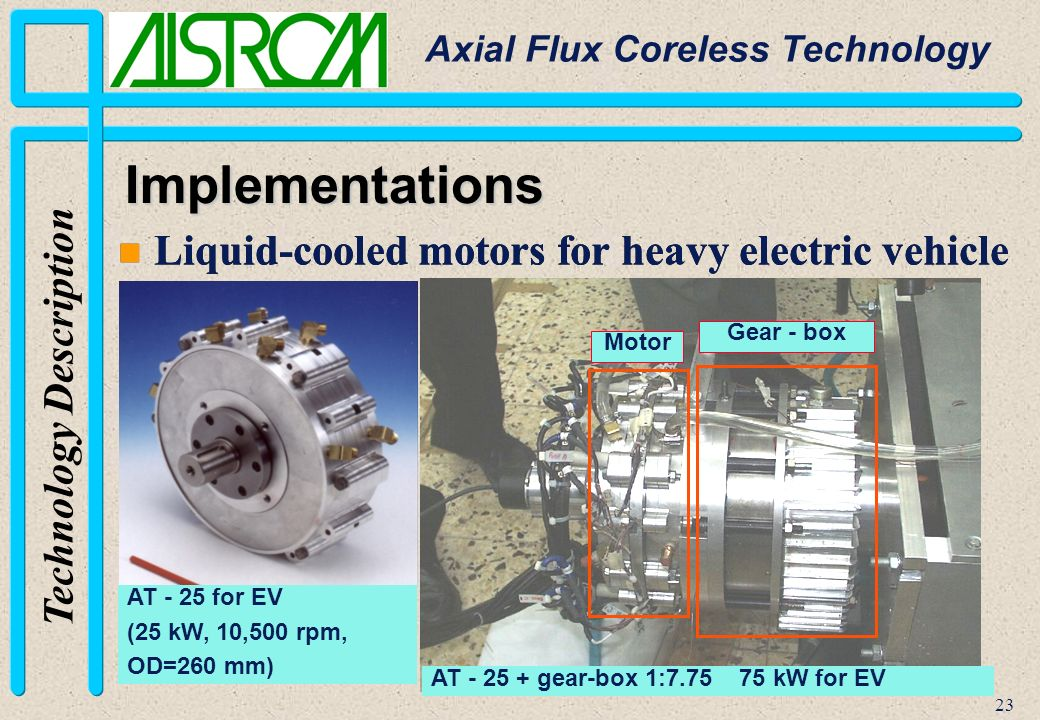 Axial flux coreless technology ppt video online download for Liquid cooled ac motor