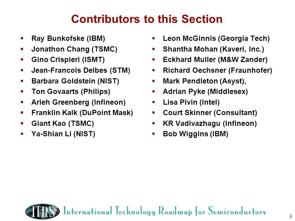 Contributors to this Section