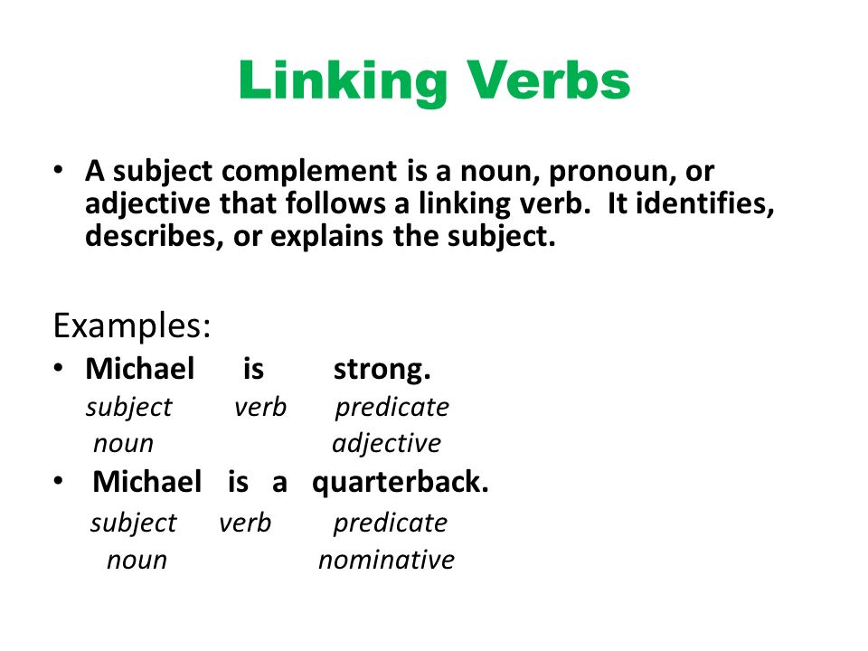 Linking Verbs Examples Olivero