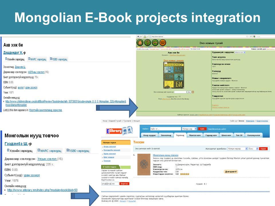 Mongolian E-Book projects integration