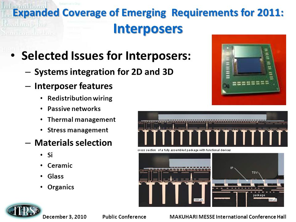 Expanded Coverage of Emerging Requirements for 2011: Interposers