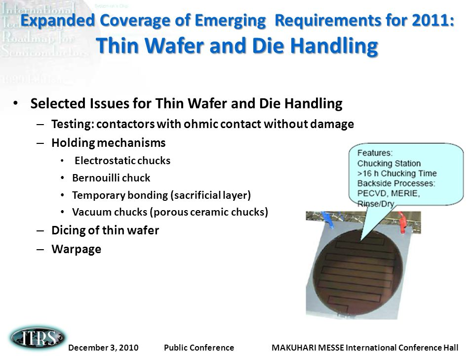 Expanded Coverage of Emerging Requirements for 2011: Thin Wafer and Die Handling