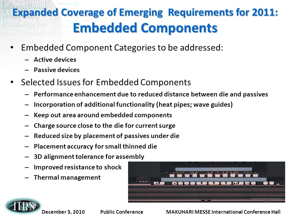 Expanded Coverage of Emerging Requirements for 2011: Embedded Components