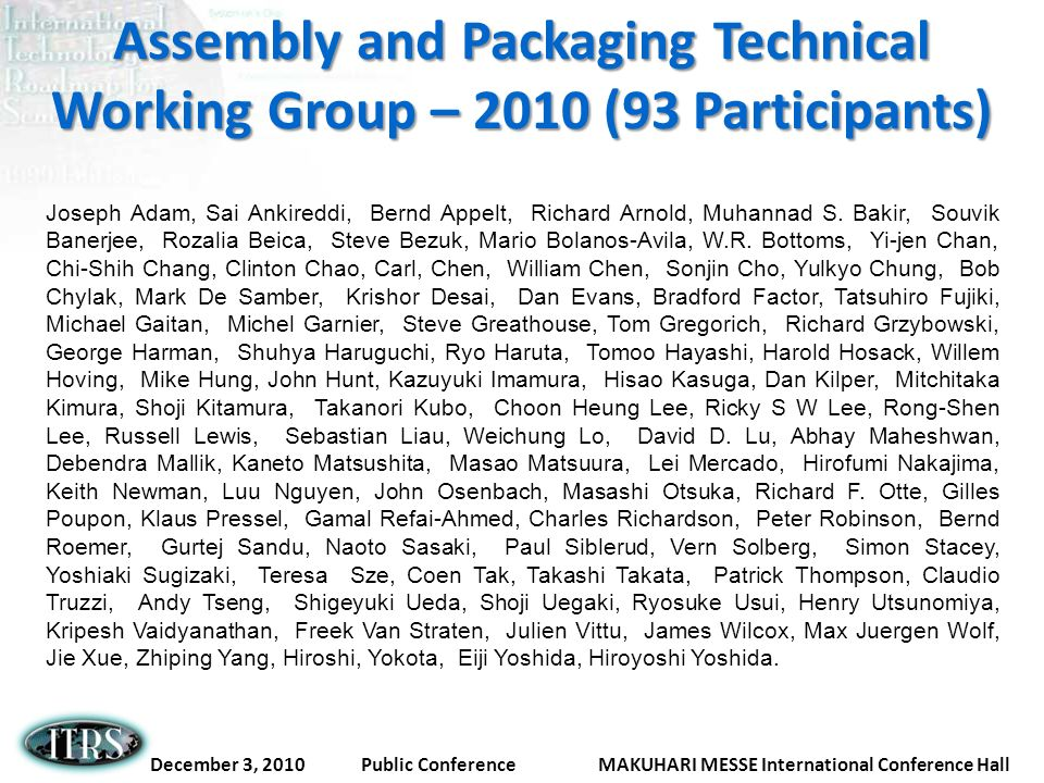 Assembly and Packaging Technical Working Group – 2010 (93 Participants)