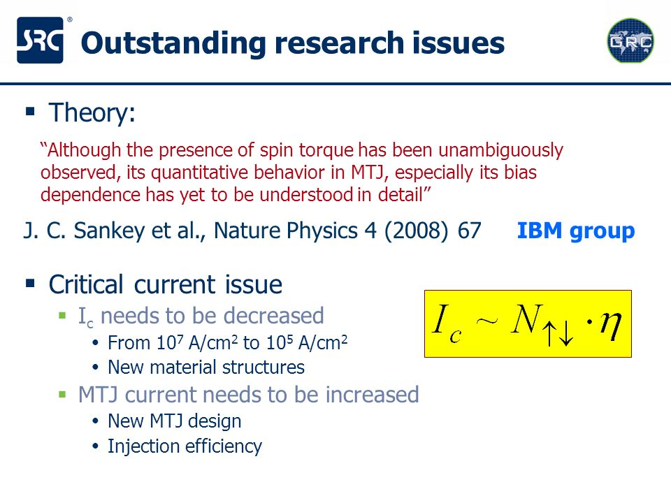 Outstanding research issues