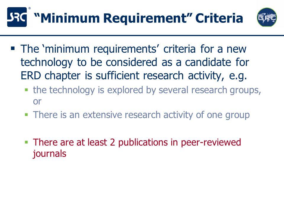 Minimum Requirement Criteria