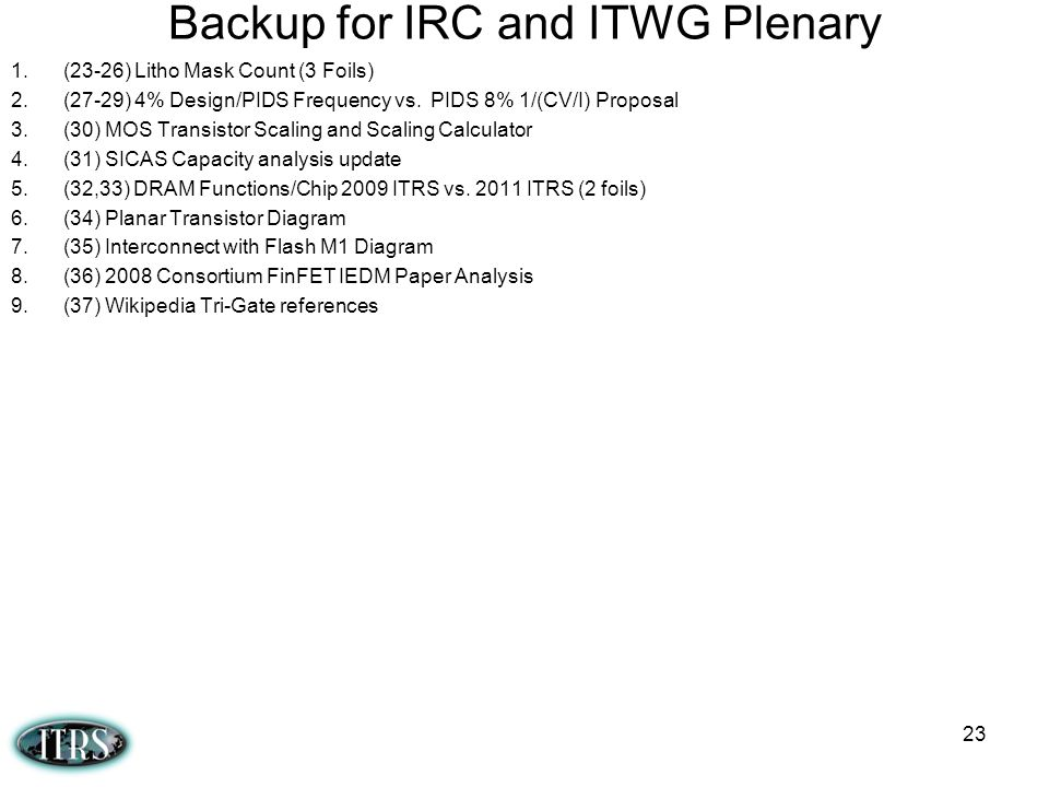 Backup for IRC and ITWG Plenary