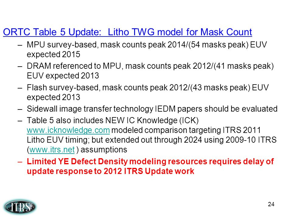 ORTC Table 5 Update: Litho TWG model for Mask Count