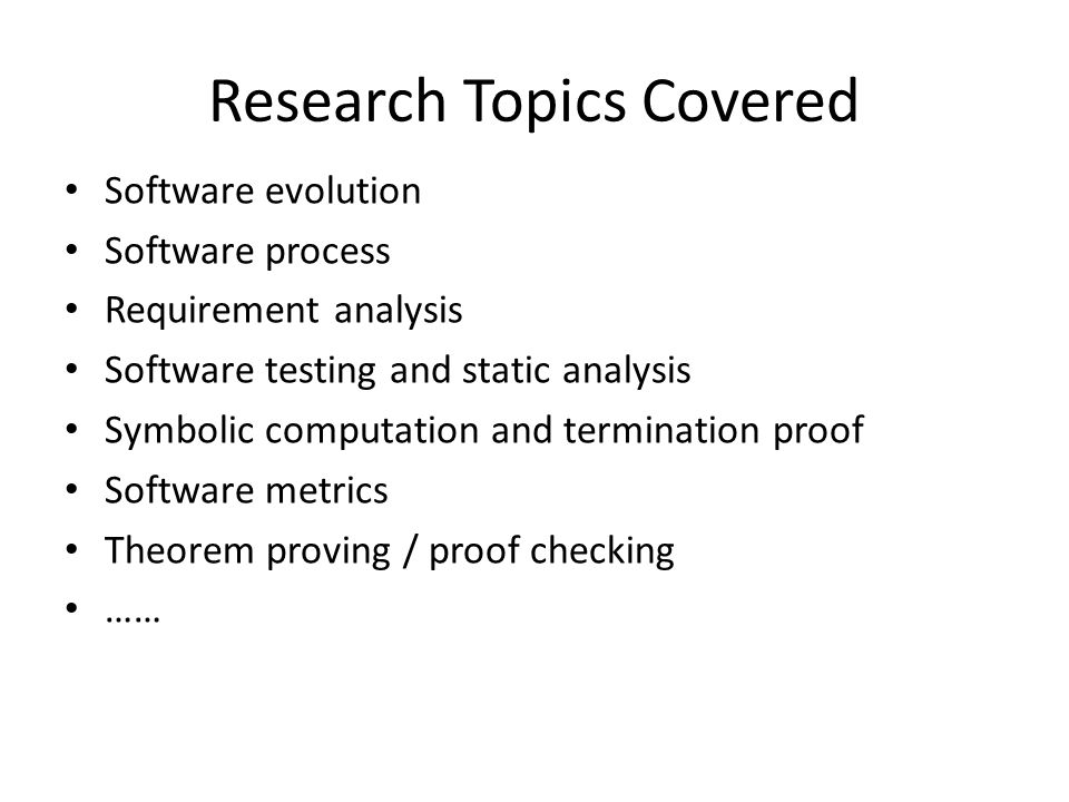 Research Topics Covered