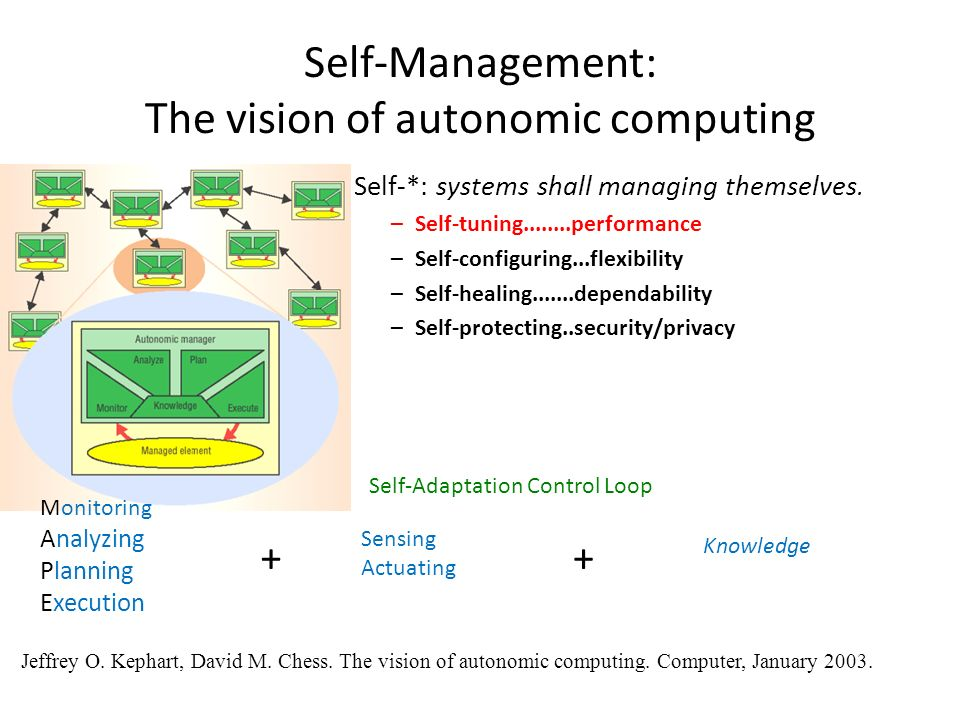 Self-Management: The vision of autonomic computing