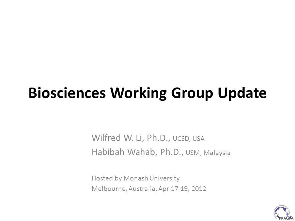 Biosciences Working Group Update