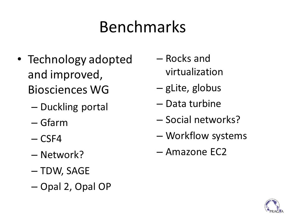 Benchmarks Technology adopted and improved, Biosciences WG