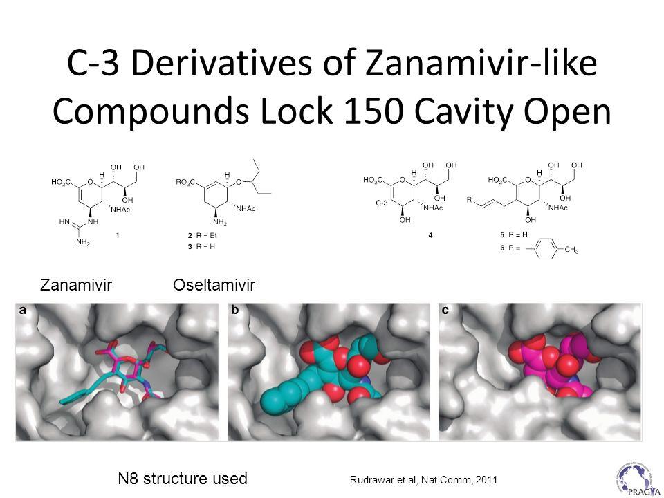 C-3 Derivatives of Zanamivir-like Compounds Lock 150 Cavity Open