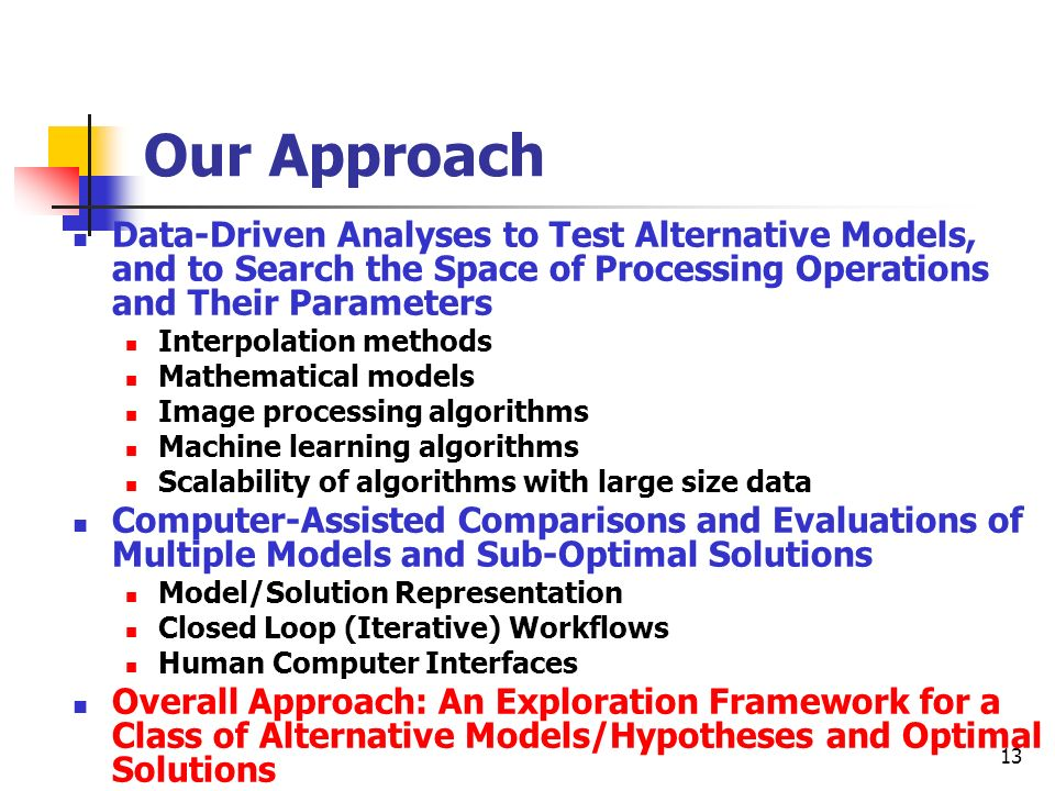 Our Approach Data-Driven Analyses to Test Alternative Models, and to Search the Space of Processing Operations and Their Parameters.