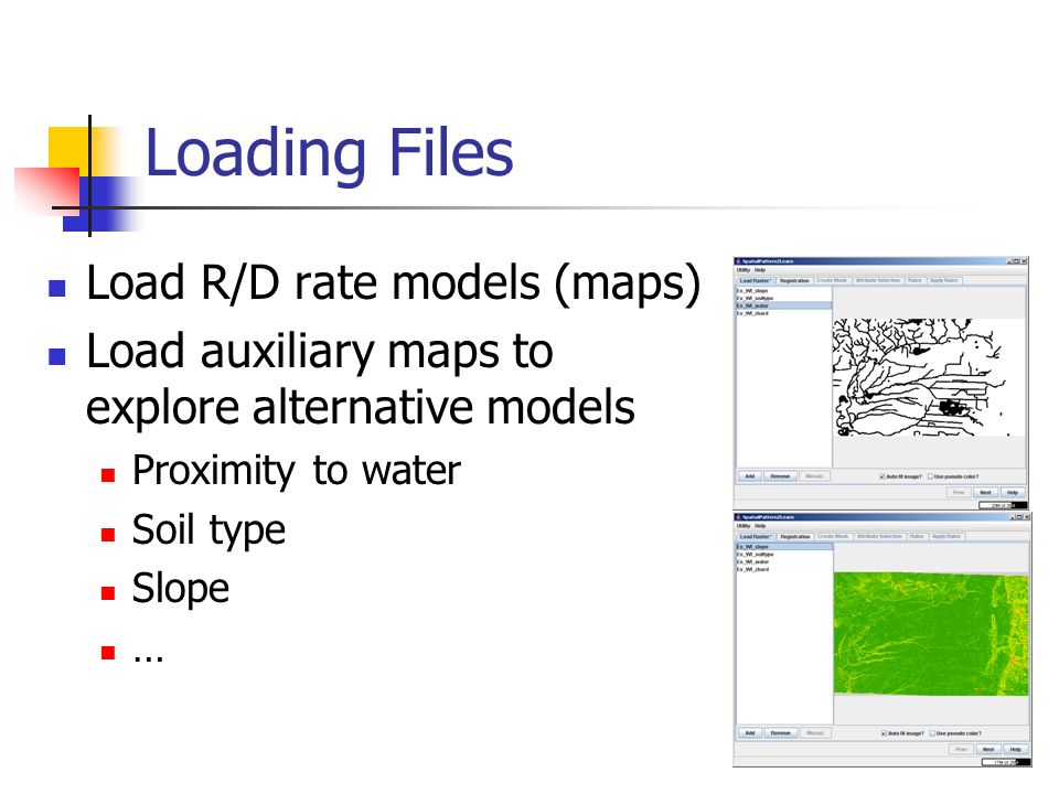 Loading Files Load R/D rate models (maps)