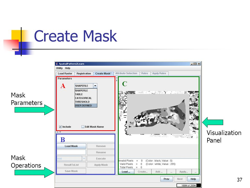 Create Mask C A Mask Parameters Visualization Panel B Mask Operations