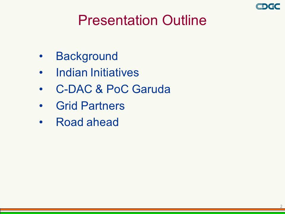Presentation Outline Background Indian Initiatives C-DAC & PoC Garuda