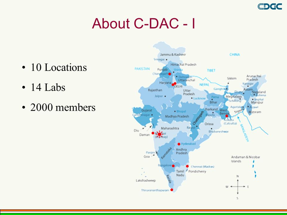 About C-DAC - I 10 Locations 14 Labs 2000 members