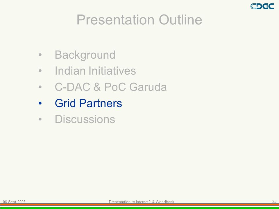 Presentation to Internet2 & Worldbank