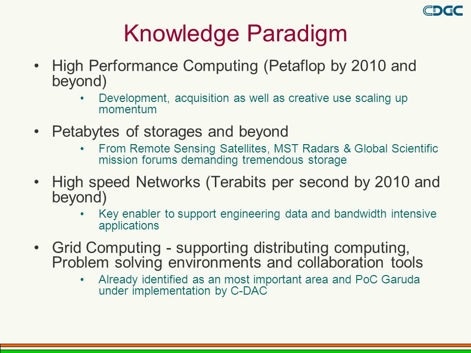 Knowledge Paradigm High Performance Computing (Petaflop by 2010 and beyond) Development, acquisition as well as creative use scaling up momentum.