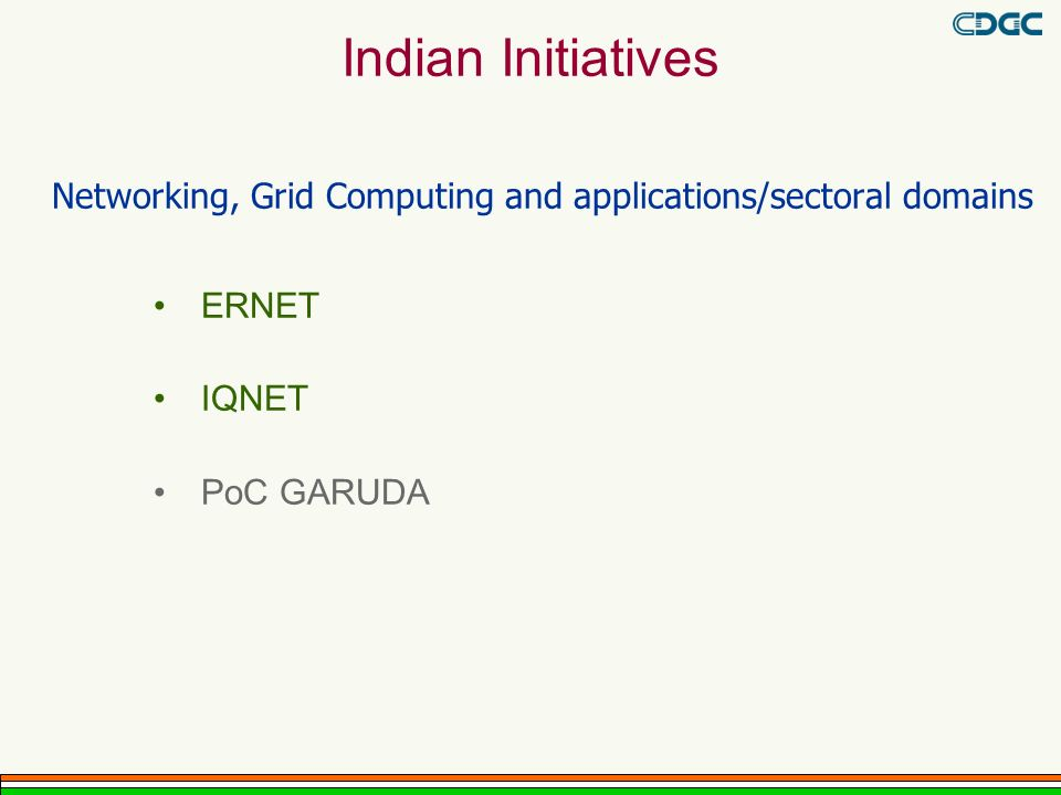 Networking, Grid Computing and applications/sectoral domains