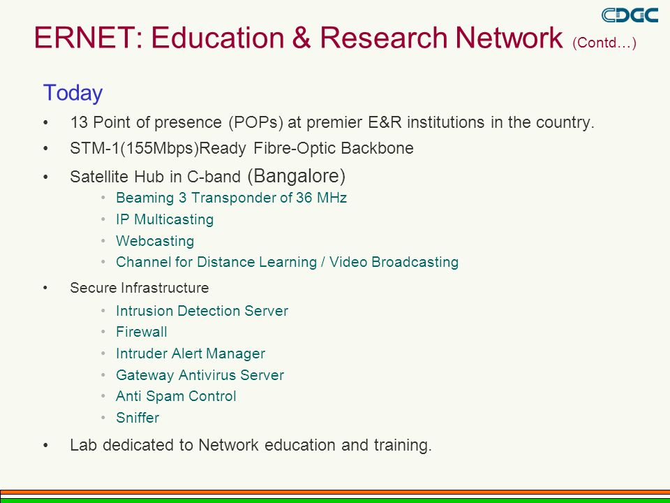 ERNET: Education & Research Network (Contd…)