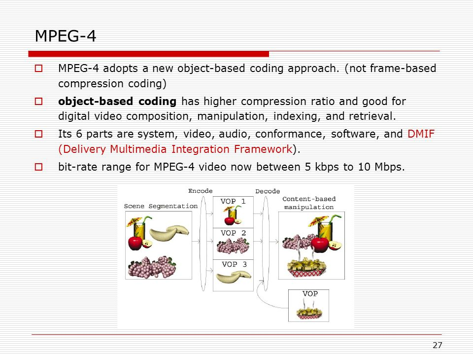 MPEG-4 MPEG-4 adopts a new object-based coding approach. (not frame-based compression coding)