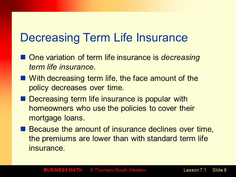 Universal Life Insurance >> 7.1 Life Insurance Calculate life insurance premiums - ppt download