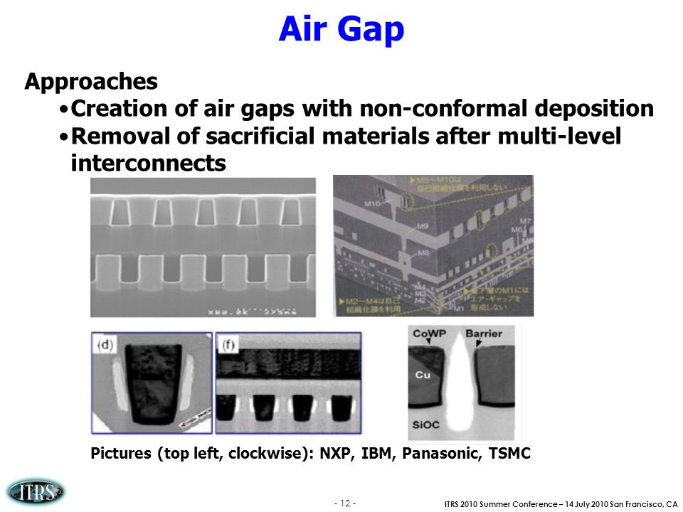 Air Gap Approaches Creation of air gaps with non-conformal deposition