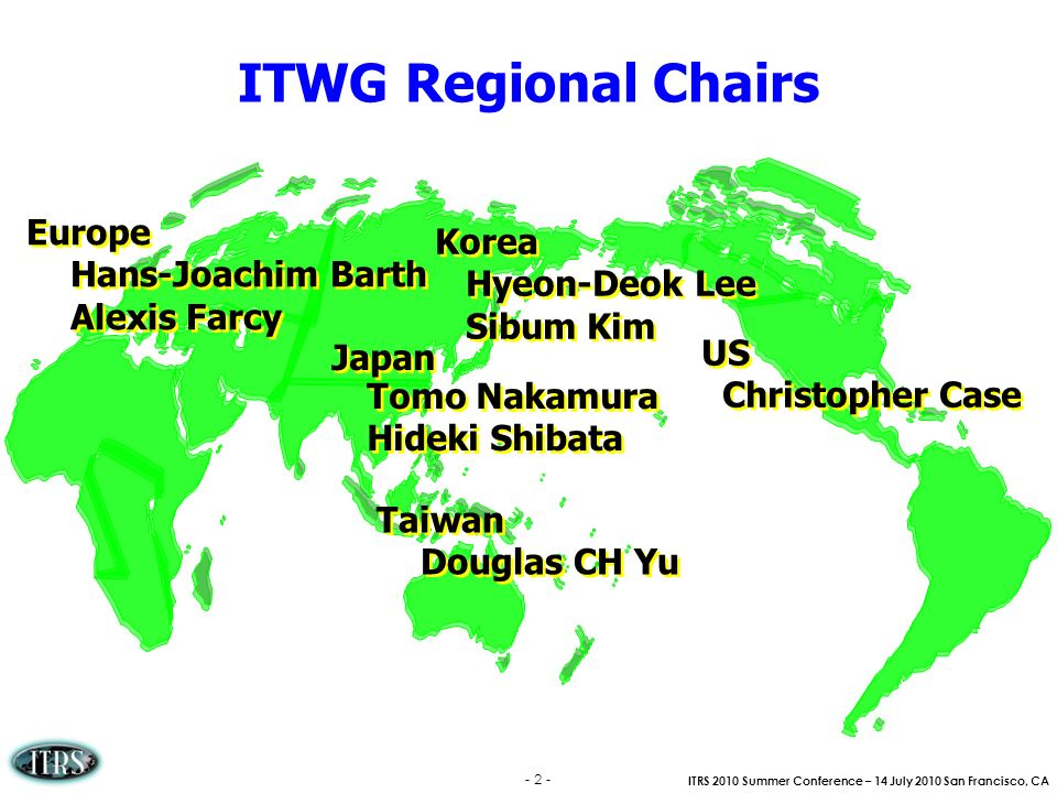 ITWG Regional Chairs Europe Korea Hans-Joachim Barth Hyeon-Deok Lee