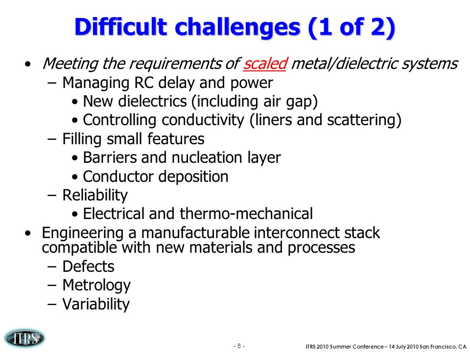 Difficult challenges (1 of 2)