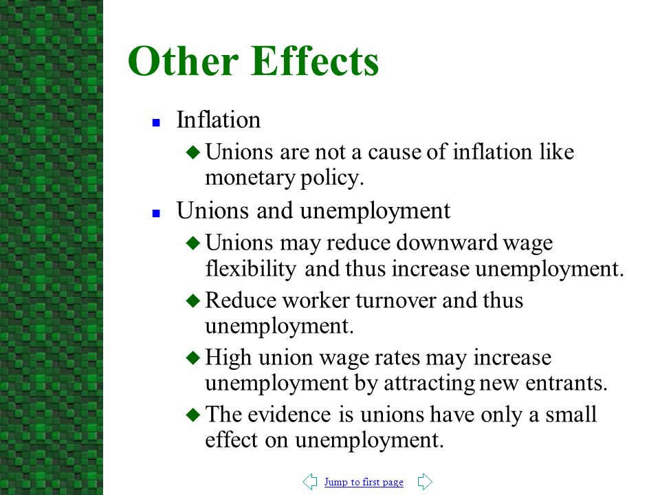 Effects the economy has on union