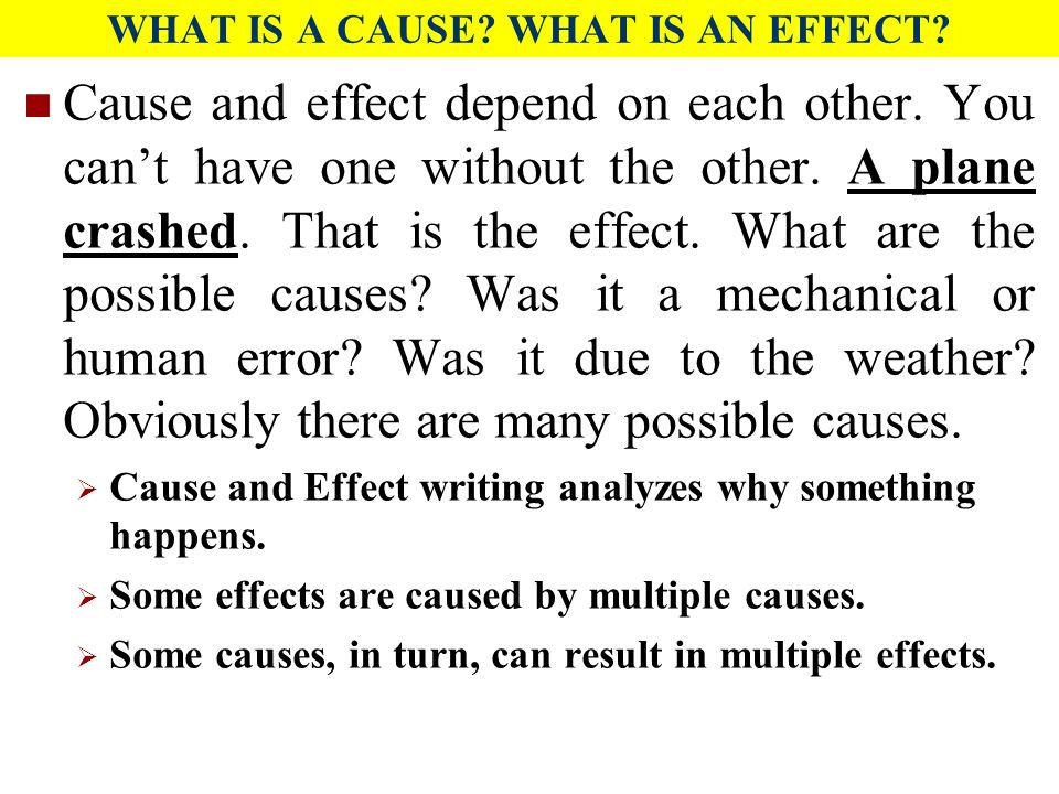 cause and effect paragraphs To discuss why things happen (causes) and what happens as a result (effects) it's important because it's a common method of organizing and discussi.