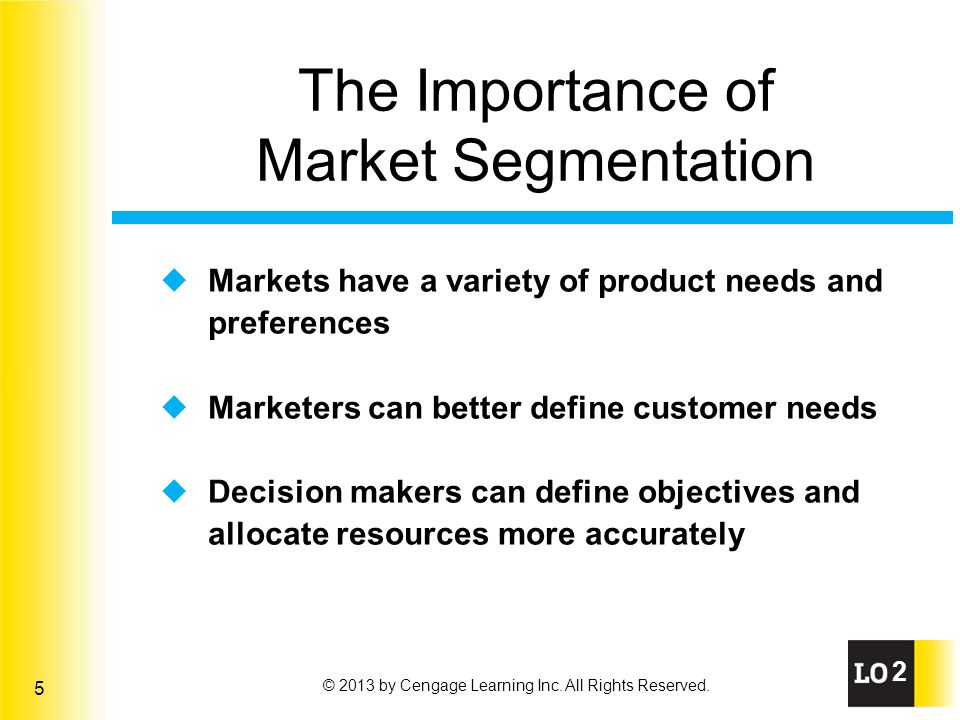 the importance of market segmentation Market segmentation is the process of dividing a market of potential customers into groups, or segments, based on different characteristics the segments created are composed of consumers who will respond similarly to marketing strategies and who share traits such as similar interests, needs, or .