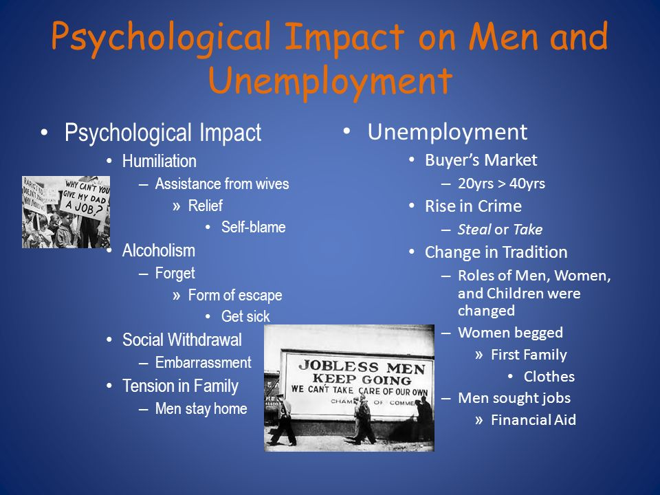 the psychological effects of unemployment On the psychological effects of employment marie jahoda in 1980 said that employment is a social institution with objective consequences that occur for all effected by it, overriding individual differences in feelings, thoughts, motivation and purpose.