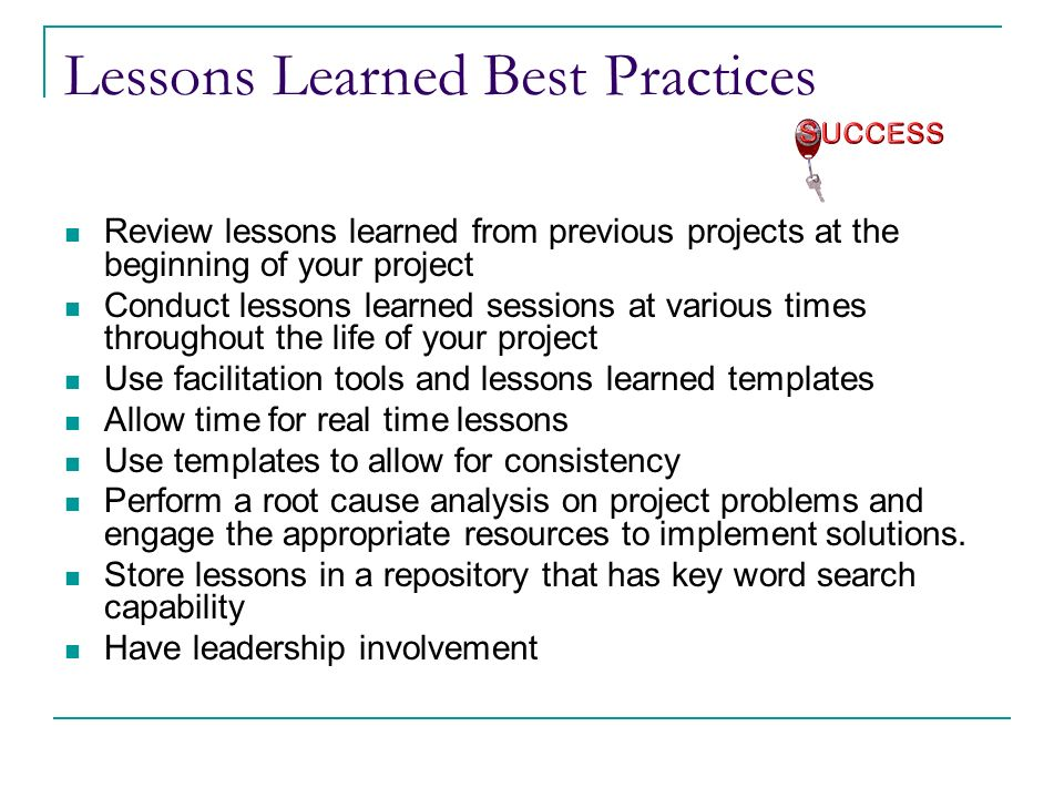 Capturing and applying lessons learned ppt download lessons learned best practices pronofoot35fo Choice Image